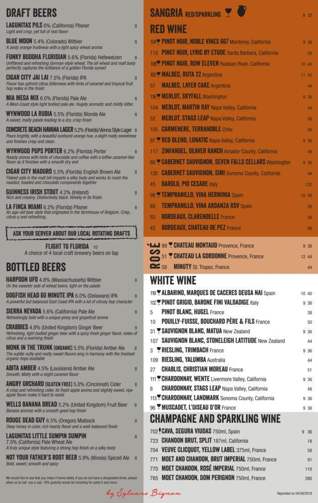 Drinks Menu GreenStreet Cafe
