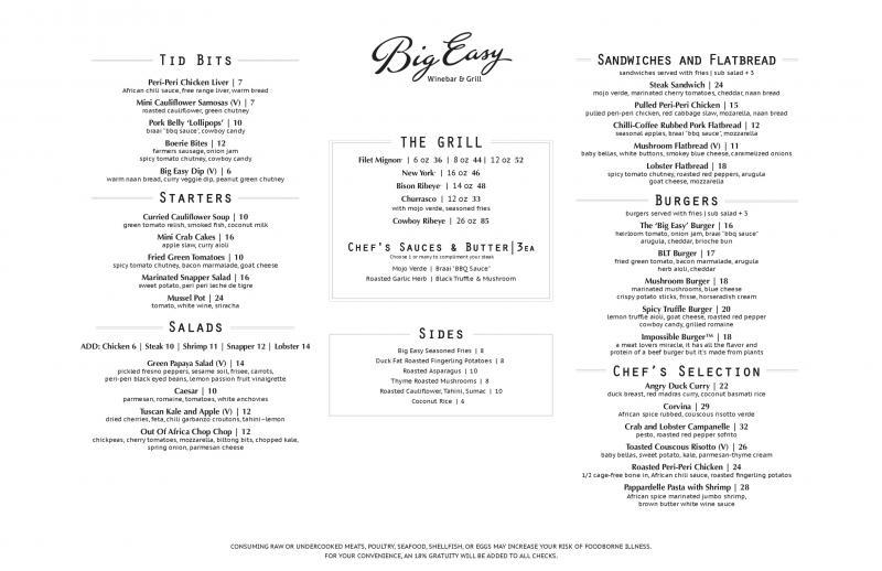 Big Easy Wine Bar and Grill Restaurant